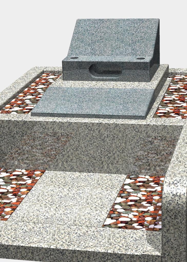 y4-20 一般普通墓地(洋型)4㎡ 中国福建省産 飛鳥石 洋型2段型(芝台桜みかげ石)