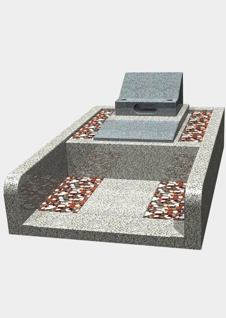 一般普通墓地(洋型)4㎡ 中国福建省産 飛鳥石 洋型2段型(芝台桜みかげ石)